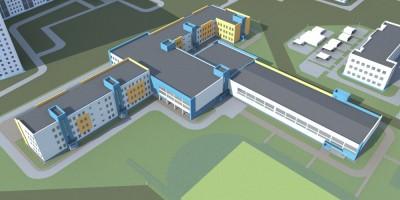 Проспект Космонавтов, проект школы, вид сверху