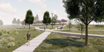 Сквер на Шуваловском проспекте и реке Глухарке, проект, дорожки