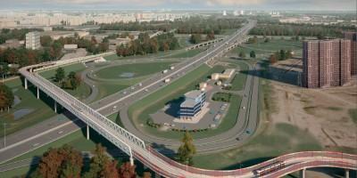 Трамвайная линия Купчино— Славянка, развязка КАД м Московского шоссе в Шушарах